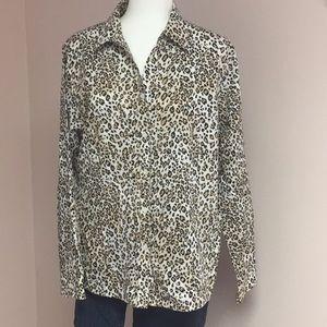 CHICOS Animal print button down shirt  3